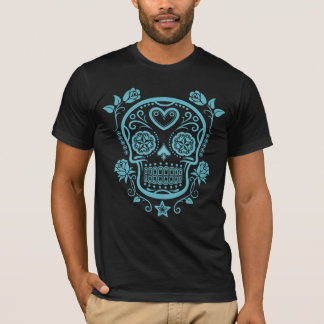 Blue Sugar Skull with Roses T-Shirt