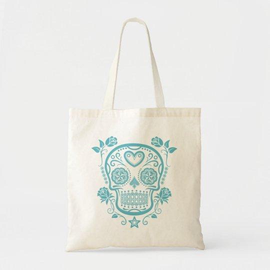 Blue Sugar Skull with Roses Tote Bag