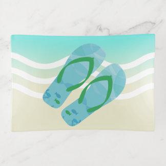 Blue Summer Beach Waves Flip Flops Trinket Trays