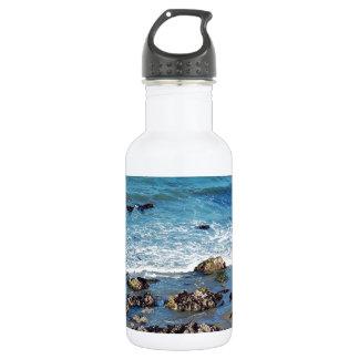 Blue summer ocean and beach 18oz water bottle