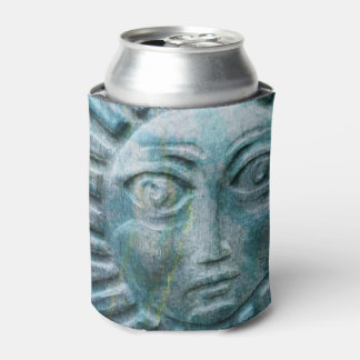 Blue Sun Face Carved Look Awesome Can Cooler