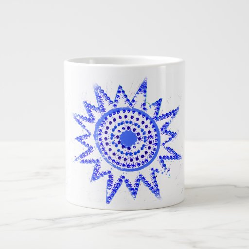 Blue Sun in Lights Grunge Cutout Giant Coffee Mug