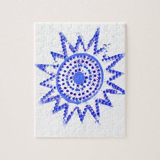 Blue Sun in Lights Grunge Cutout Jigsaw Puzzle