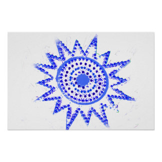 Blue Sun in Lights Grunge Cutout Poster