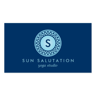 BLUE SUN LOGO MONOGRAM III for YOGA STUDIO Double-Sided Standard Business Cards (Pack Of 100)