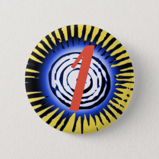 Blue Sun With Red Personalised Letter Or Number Pinback Button