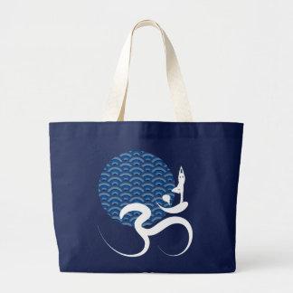 Blue Sun Yoga Spiritual Indian Writing Om Ohm Logo Large Tote Bag