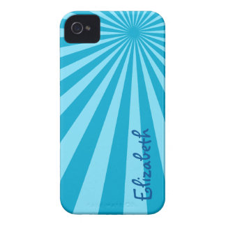 "Blue Sunburst ""Add Your Name"" iPhone 4 Case-Mate Case"