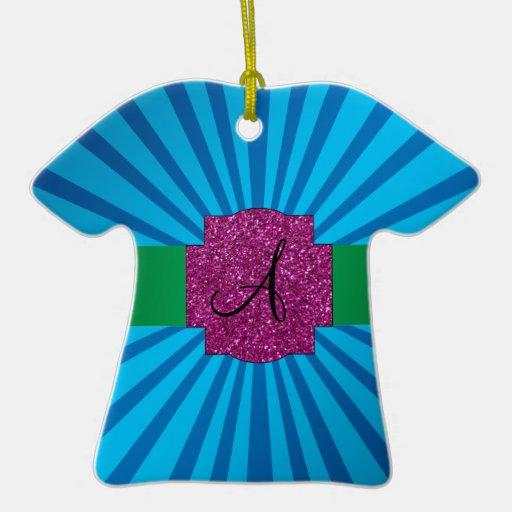 Blue sunburst monogram Double-Sided T-Shirt ceramic christmas ornament