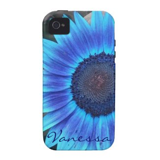 Blue Sunflower iPhone 4 case *personalize*