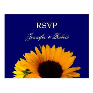 Blue Sunflower RSVP Postcard