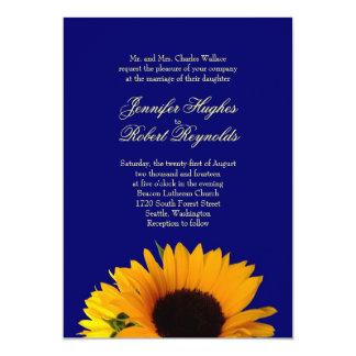 Blue Sunflower Wedding Invitation