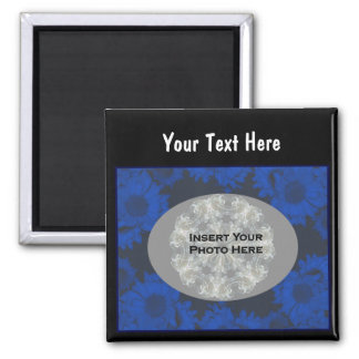 Blue Sunflowers Design Floral Photo 2 Inch Square Magnet