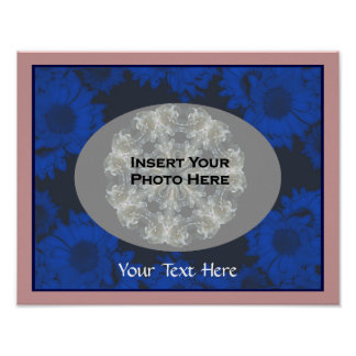 Blue Sunflowers Your Photo Template Poster