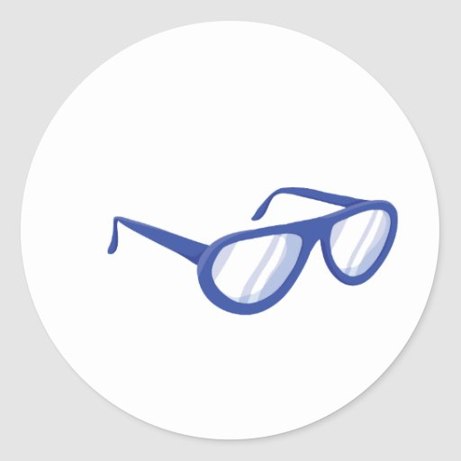 blue sunglasses.png round stickers