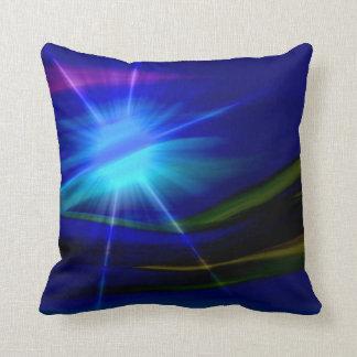 Blue Sunlight Abstract Art Throw Pillow