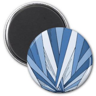Blue Sunrise Art Deco Design 2 Inch Round Magnet