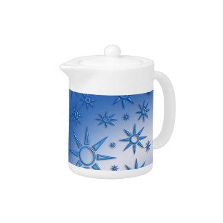 Blue suns seamless pattern teapot