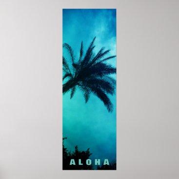 Beach Themed Blue Sunset Aloha Hawaii Palm Trees Tropics Travel Poster