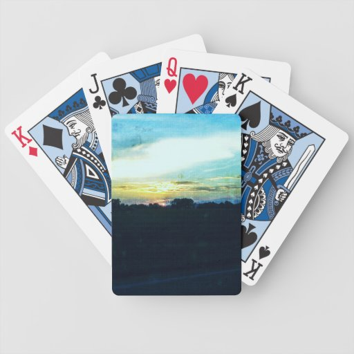 Blue Sunset Bicycle Playing Cards