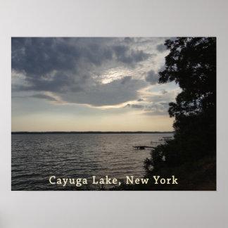 Blue Sunset Cayuga Lake Poster