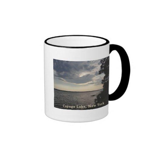 Blue Sunset Cayuga Lake Ringer Mug