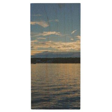 Blue Sunset Lake Of Ozarks Wood Flash Drive