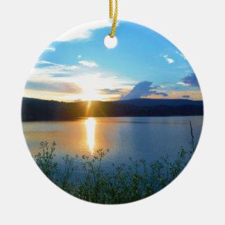 Blue sunset on lake ceramic ornament