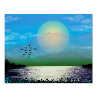 Blue Sunset Over Lake Poster