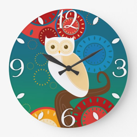 Blue Sunset Owl Large Clock