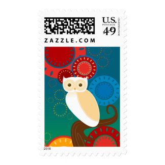 Blue Sunset Owl Postage