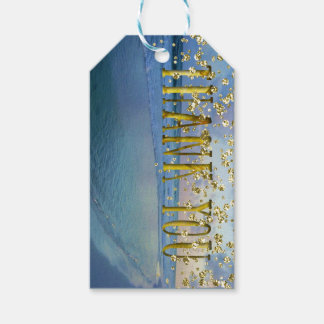 Blue Sunset Shore With Golden Thank You Gift Tags