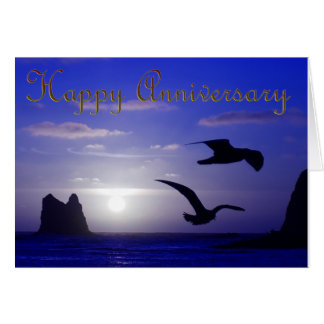 blue sunset silhouettes anniversary card