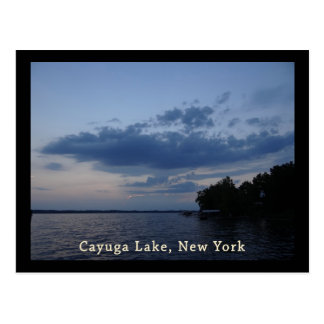 Blue Sunset Sky Cayuga Lake NY Postcard