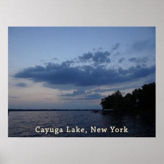 Blue Sunset Sky Cayuga Lake NY Poster