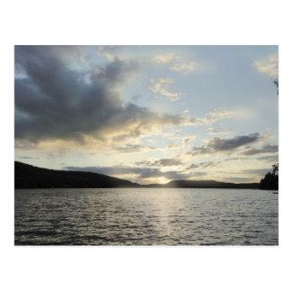 Blue sunsets depict Lake Sunapee, New Hampshire Postcard