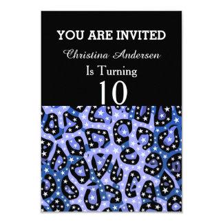 Blue Super Star Cheetah Abstract Card