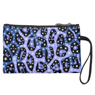 Blue Super Star Cheetah Abstract Suede Wristlet Wallet