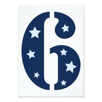 Blue Superstar 6 Birthday Party Invitation