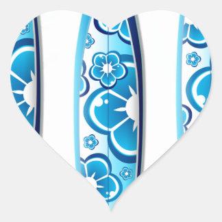 Blue Surfboard Design Heart Sticker