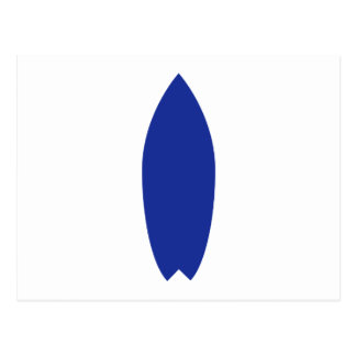 Blue surfboard postcard