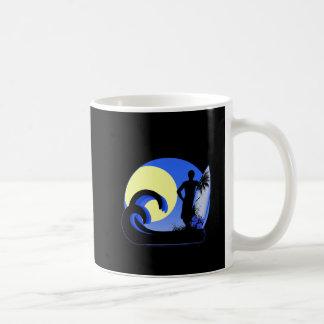 Blue surfer at sunset coffee mug