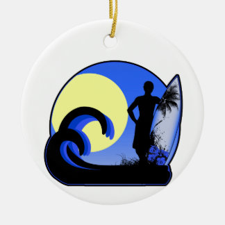 Blue surfer at sunset christmas ornaments