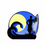 Blue surfer at sunset photo cutout