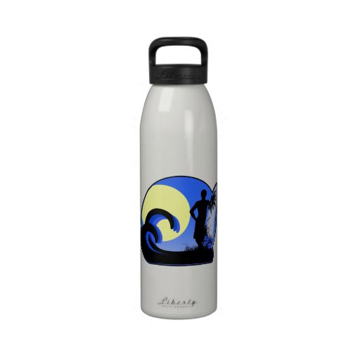 Blue surfer at sunset reusable water bottle