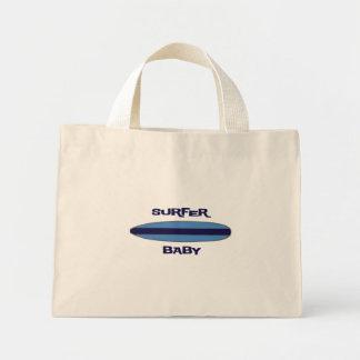 Blue Surfer Baby Mini Tote Bag