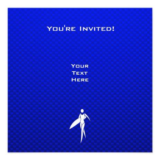Blue Surfing Girl Invites