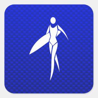 Blue Surfing Girl Square Sticker