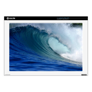 "Blue surfing wave decals for 17"" laptops"