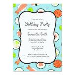 Blue Sushi Theme Birthday Party 5x7 Paper Invitation Card